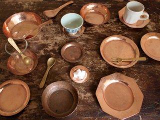 インド 銅のプレート・れんげ