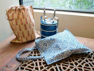 インド 木版染めのミニバッグ