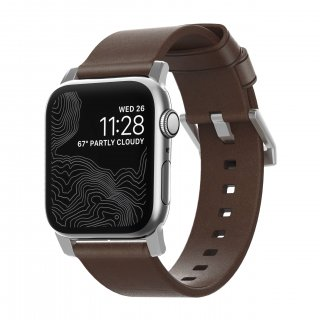 【Apple Watch Series 6/SE/5/4/3/2/1対応】NOMAD Horween Leather Modern Strap ブラウン(シルバー金具)42mm/44mm<img class='new_mark_img2' src='https://img.shop-pro.jp/img/new/icons61.gif' style='border:none;display:inline;margin:0px;padding:0px;width:auto;' />