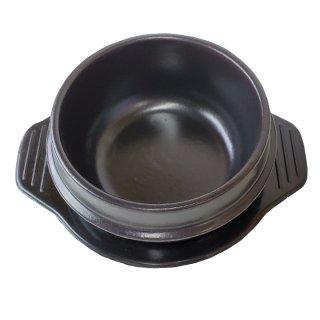 チゲ用トゥッペギ(土鍋) 直径14cm×1個、メラミン製トレー付き 常温便・クール冷蔵便可 ※フタなし