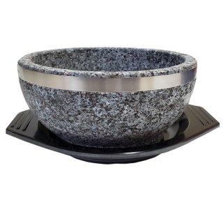 天然角閃石・石鍋1個(トレー×1個付き)補強ステンレスリング付き ピビムバ ピビンバ ビビムパ ビビンパ 常温便・クール冷蔵便可