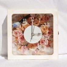花の時計・アンティークホワイト(ピンク×サーモン)