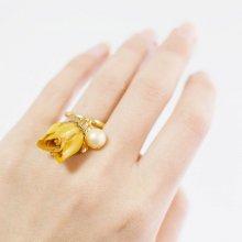 黄バラ&真珠の指輪(ゴールド)