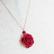 本物のバラのネックレス・レッド
