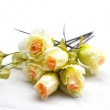 ヘッドドレス・イエロー×オレンジ薔薇6輪セット(送料無料)