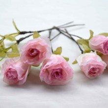 ヘッドドレス・ピンク×ホワイト薔薇6輪セット(送料無料)