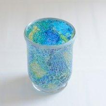 モザイクガラス花器・アクアマリン(11.5φ×15H)