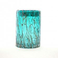 ガラス花器・ブルーブロンズ (h17cm 口径:φ12cm )