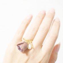 紫バラ&真珠の指輪(パープル)