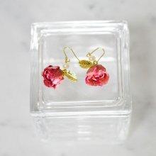 薔薇の蕾ピアス・ピンク