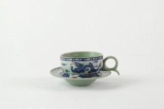 [台湾の茶器]<br>カップ&ソーサー竜と太陽の柄