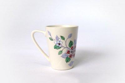 【再入荷】[バッチャン焼(ベトナム)]<br>花柄のマグカップ(あじさい)