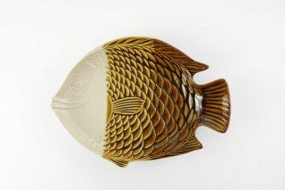 [ランパーン(タイ)]<br>魚の形の陽気な皿(中)