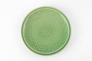 [ランパーン(タイ)]<br>セラドン焼テイストの平皿