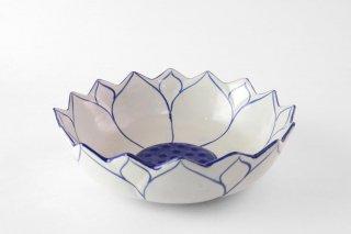[ランパーン(タイ)]<br>青と白の模様がきれいな花皿
