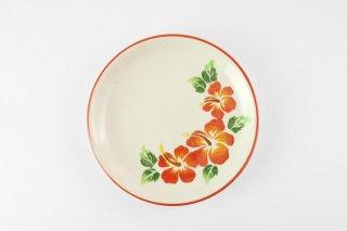 [ランパーン(タイ)]<br>赤い花柄が美しいレトロ平皿
