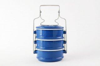 【再入荷】[Rabbit Brand(タイ)]<br>ホーローのお弁当箱 3段 ブルー