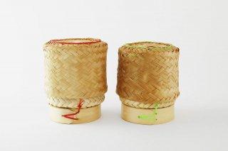 [バンコク(タイ)]<br>タイの田舎の弁当容器(お握りと漬物など)2個セット赤と緑