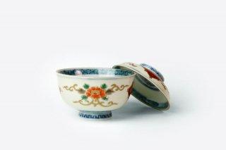 【アウトレット品】[江戸から近代の器]<br>蓋つき椀(華やかな模様)