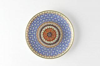 [ベンジャロン焼(タイ)]<br>手描き模様の6寸皿<br>(ふんだんに使われた金彩 花のモチーフ 紫色ベース)