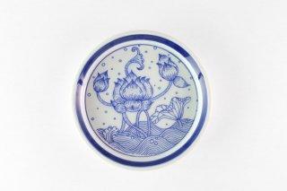 [ランパーン(タイ)]<br>蓮模様 厚手の丸皿