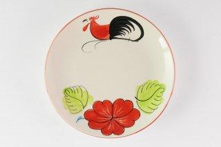 [ランパーン(タイ)]<br>鶏の柄の陽気で可愛い丸皿