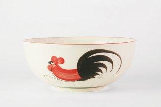 [ランパーン(タイ)]<br>鶏の柄の陽気で可愛いボウル(大)