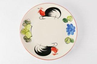 [ランパーン(タイ)]<br>鶏の柄の陽気で可愛い丸皿(大)