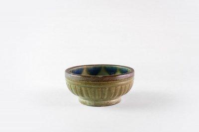 [当山友紀のやちむん(沖縄)]<br>3.5寸合わせ鉢(ブルーの縁飾り)