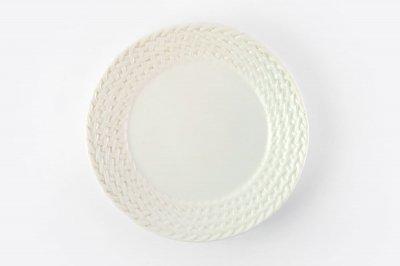 [ジェンガラケラミック(インドネシア)]<br>編み模様のリム皿【ホワイト】