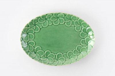 [ジェンガラケラミック(インドネシア)]<br>フランジパニで飾ったオーバル皿