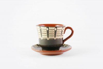 [トロヤン陶器(ブルガリア)]<br>トロヤンの雫 モノトーン カップ&ソーサー<br>(ブラック)