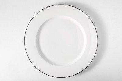 [白いテーブルウェア]<br>ラインプレート L ブラック
