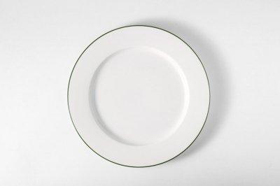 [白いテーブルウェア]<br>ラインプレート M グリーン