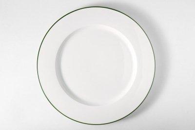 [白いテーブルウェア]<br>ラインプレート L グリーン