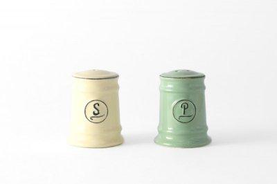 [ Emporio dell' Arte(タイ)]<br>スパイスボトル 塩コショウ入れのセット クリーム(塩)とモスグリーン(胡椒)