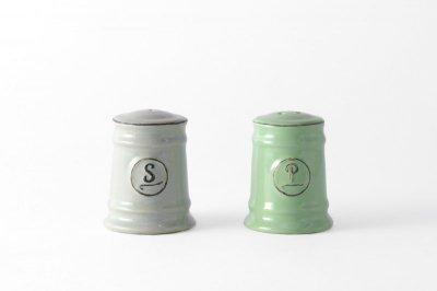 [ Emporio dell' Arte(タイ)]<br>スパイスボトル 塩コショウ入れのセット ライトグレー(塩)とモスグリーン(胡椒)