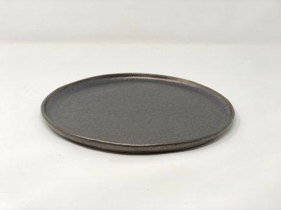 [土の実クラフト]<br>大きな丸皿 サークルプレート(黒柚)