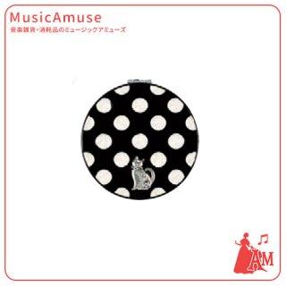 コンパクトミラー ドット柄(ネコ) G-4424BK ミュージックカラーショップ(旧ミュージックアミューズ)