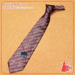 西陣織 シルクネクタイ 斜め楽譜 ロゼ LN3615-02 ミュージックカラーショップ(旧ミュージックアミューズ)