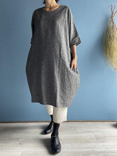 バルーンワンピース シャンブレー紺
