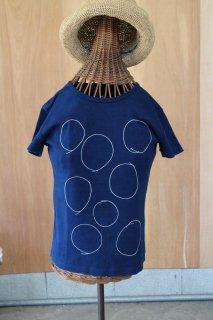 手描きまるTシャツ インディゴ