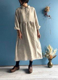 襟付き長袖ワンピース キナリ