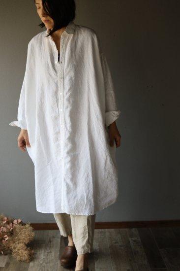 リネンロングシャツ 白