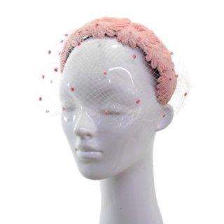 カチューシャ CH-4 ピンク 帽子 レディース 婦人 ハット ファッション オシャレ 結婚式 二次会 パーティー 同窓会 発表会 衣装 舞台 チュール付き ネット通販 オールシーズン
