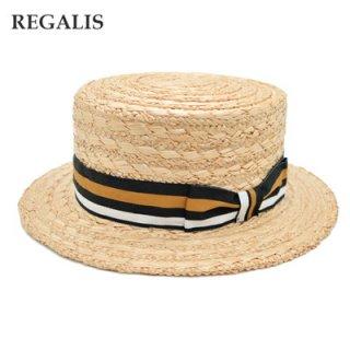 カンカン帽 REGALIS レガリス RL008 ナチュラル(グレー)メンズ 紳士 ファッション 麦わら 天然 帽子 ハット UVケア 紫外線対策 送料無料 ネット通販 春夏