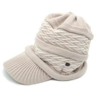 HIROKO KOSHINO コシノヒロコ ニットキャップ KO526 ベージュ レディース 婦人 帽子 ハット ニット帽 ウール混 防寒対策 暖かい カジュアル 日本製 ネット通販 秋冬