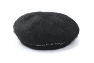 Haihai ハイハイ ファーベレー帽 LE-001 ブラック 黒 レディース 婦人 帽子 アンゴラ 暖かい ワンポイント シンプル カジュアル フリーサイズ 日本製 ネット通販 秋冬