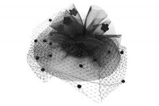 カクテルハット IZ845-2 ブラック 黒 トーク帽 レディース 婦人 チュール付き ハット 結婚式 パーティー エレガント フォーマル 衣装 舞台 ネット通販 オールシーズン