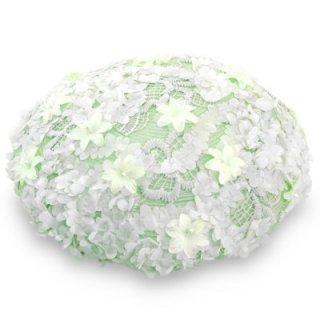 地中海 ベレー帽 17C-3 グリーン 緑 レディース 婦人 フラワー付き 紫外線対策 日除け UVケア ファッション オシャレ エレガント 日本製 ネット通販 送料無料 春夏